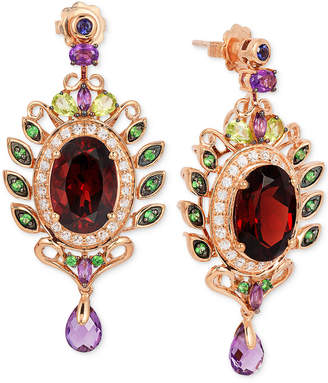 LeVian Le Vian Crazy Collection Garnet (10 ct. t.w.) and Multi-Stone (3-5/8 ct. t.w.) Drop Earrings in 14k Rose Gold