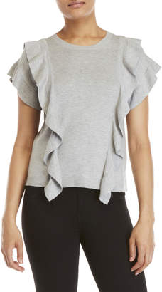 Cliche Grey Ruffled Knit Top
