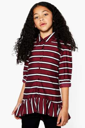 boohoo Girls Stripe Ruffle Shirt