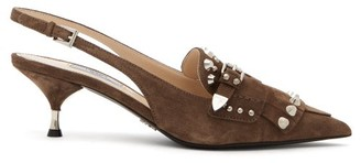 Prada Studded Fringe Suede Slingback Pumps - Womens - Brown