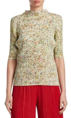 Pleats Please Issey Miyake Speckle Mockneck Top