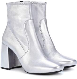 Prada Metallic leather ankle boots