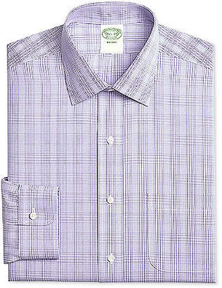 Brooks Brothers Men Milano Extra-Slim Fit Non-Iron Purple Plaid Dress Shirt