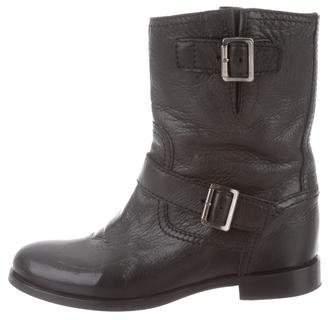 Prada Pebbled Leather Moto Boots