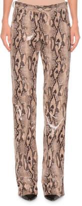 MSGM Faux-Leather Straight-Leg Python Pants