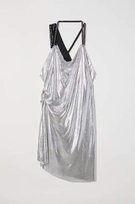 H&M Draped Halterneck Dress - Silver-colored - Women