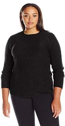 Sag Harbor Women's Plus Size Long Sleeve Braided Cable Crew Neck Cashmerlon Sweater