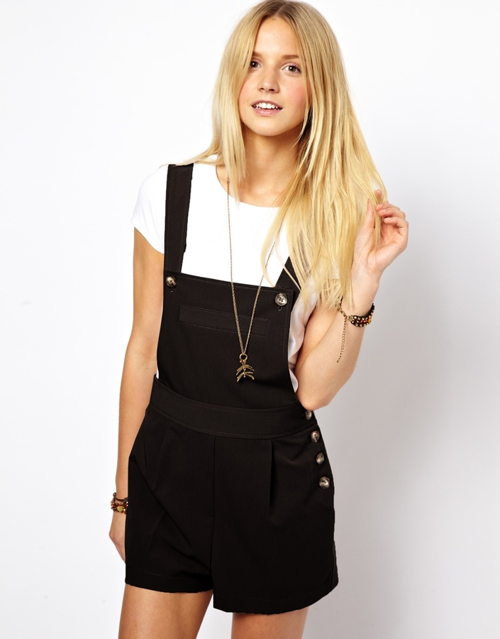 ASOS Dungaree Playsuit with Button Detail