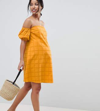 Asos DESIGN Maternity Ultimate Broderie Puff Ball Off Shoulder Mini Sundress