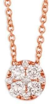 LeVian 14K Strawberry Gold and Vanilla Diamond Circle Pendant Necklace