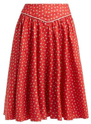 Batsheva - Floral Print Cotton Skirt - Womens - Red