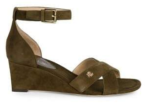 Lauren Ralph Lauren Suede Wedge Ankle-Strap Sandals