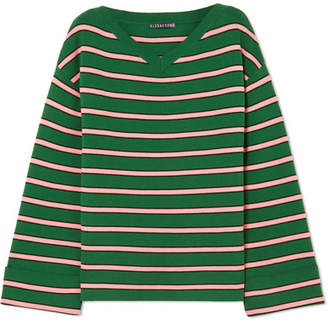 ALEXACHUNG Oversized Striped Wool And Cotton-blend Sweater - Green