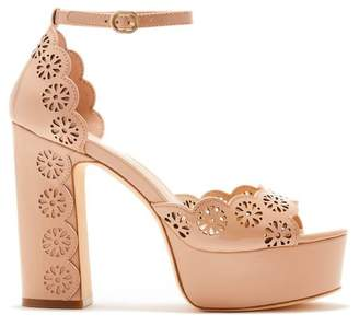 Rachel Zoe Jenelle Laser-Cut Patent Leather Peep-Toe Platform Sandals