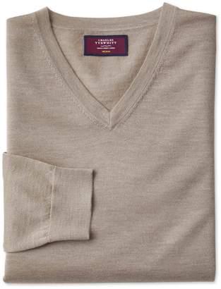 Charles Tyrwhitt Stone Merino Silk V-Neck Merino Silk Sweater Size Large