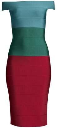 Herve Leger Off-The-Shoulder Colorblock Dress