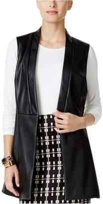 Alfani Womens Faux Leather Button Front Outerwear Vest Black M