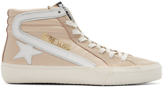 Golden Goose Pink Slide High-Top Sneakers $480 thestylecure.com