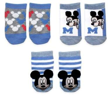 Baby® Size 0-6M 3-Pack Mickey Rattle Pom Quarter Socks in White