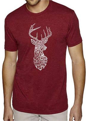 Blend of America LOS ANGELES POP ART Los Angeles Pop Art Men's Big & Tall Premium Word Art T-Shirt - Types of Deer