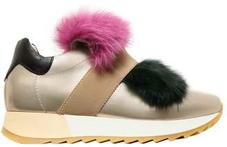 Metallic Nappa Leather & Fur Sneakers