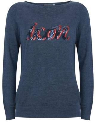 Mint Velvet Navy Sequinned Icon Crew Neck Knit