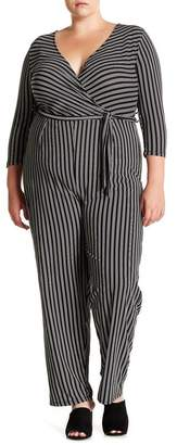 Derek Heart Striped Tie Waist Jumpsuit (Plus Size)