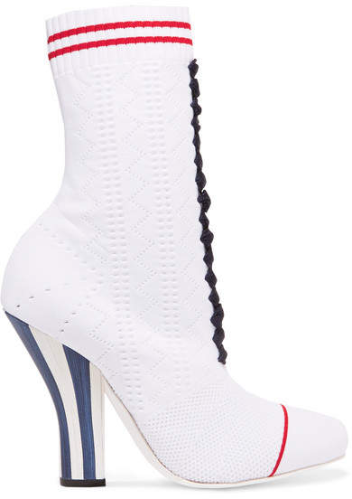 Fendi - Stretch-knit Ankle Boots - White