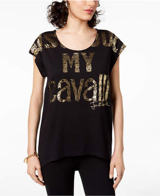 Just Cavalli Cotton Foil Logo T-Shirt
