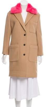 Rebecca Minkoff Faux Fur-Trimmed Knee-Length Coat