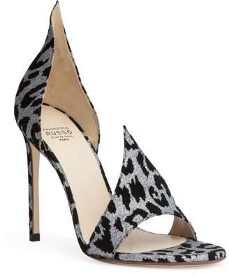 Francesco Russo Leopard 105 glitter suede sandals