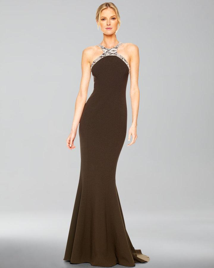 Michael Kors Faux-Python Halter Gown