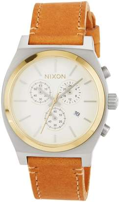 Nixon 39mm Time Teller Chrono Leather Watch, Tan
