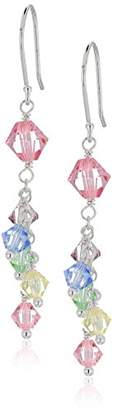 Swarovski Sterling Silver Chain and Earwire -Color Crystals by Dangle Earrings