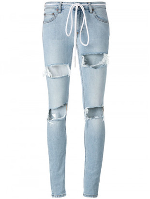 Off-White ripped drawstring skinny jeans $580 thestylecure.com
