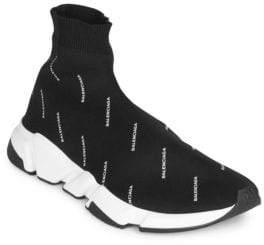 Balenciaga Allover Logo Speed Sock Sneakers