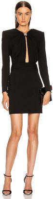 Saint Laurent Long Sleeve Keyhole Mini Dress in Black | FWRD