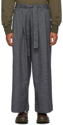 Naked & Famous Denim Denim Grey Tweed Wide Trousers