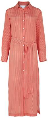 Asceno ASCENO Red Striped Silk Shirt Dress
