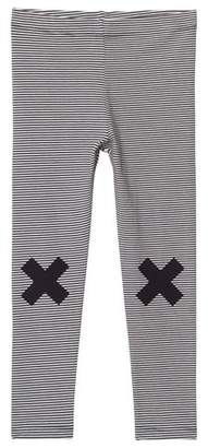 Tinycottons Off-White and Navy Cross Print Leggings