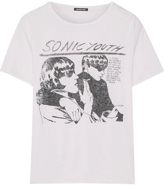 R 13 Sonic Youth Printed Cotton And Cashmere-blend Jersey T-shirt - White