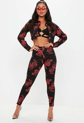 Missguided Black Denim High Waisted Dragon Print Skinny Jeans