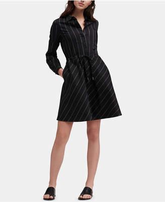 DKNY Striped Collared Shirtdress