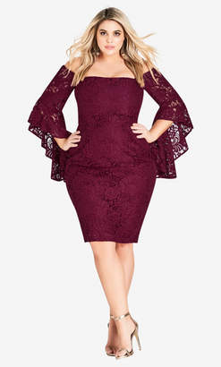 City Chic Mystic Lace Dress - Ruby