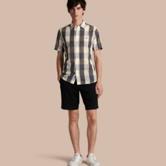 Burberry Short-sleeved Exploded Gingham Cotton Linen Shirt $250 thestylecure.com