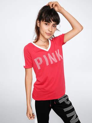 PINK V-Neck Ringer Tee