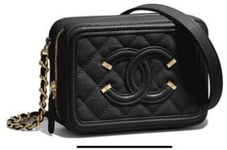 Chanel Vanity Case Cc Filigree Mini Black Leather Cross Body Bag