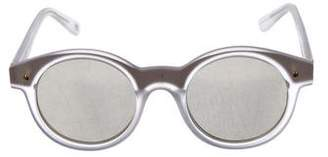 Le Specs Round Mirrored Sunglasses