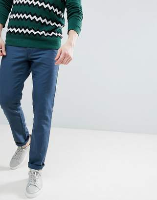 Benetton Slim Fit Linen Chinos in Navy