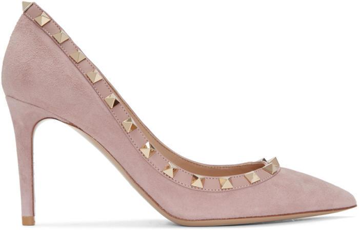 Valentino Pink Valentino Garavani Suede Rockstud Heels